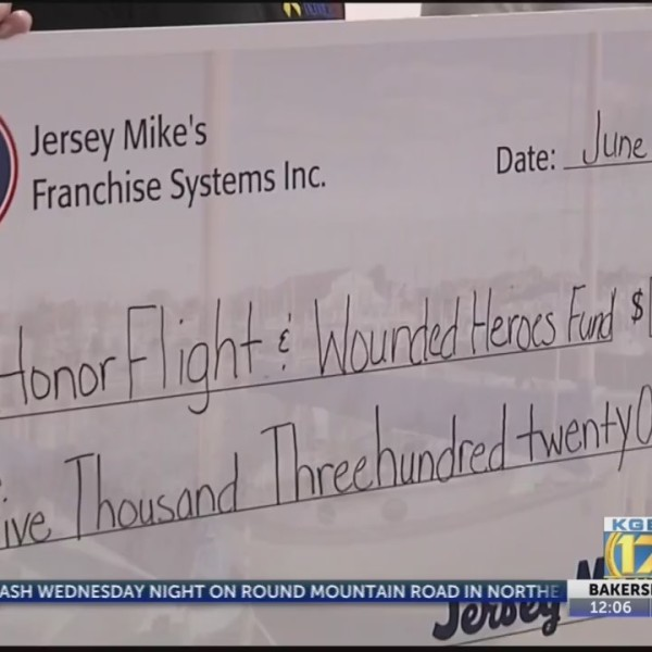 Jersey Mike's Subs donates money to Honor Flight Kern County, Wounded Heroes Fund