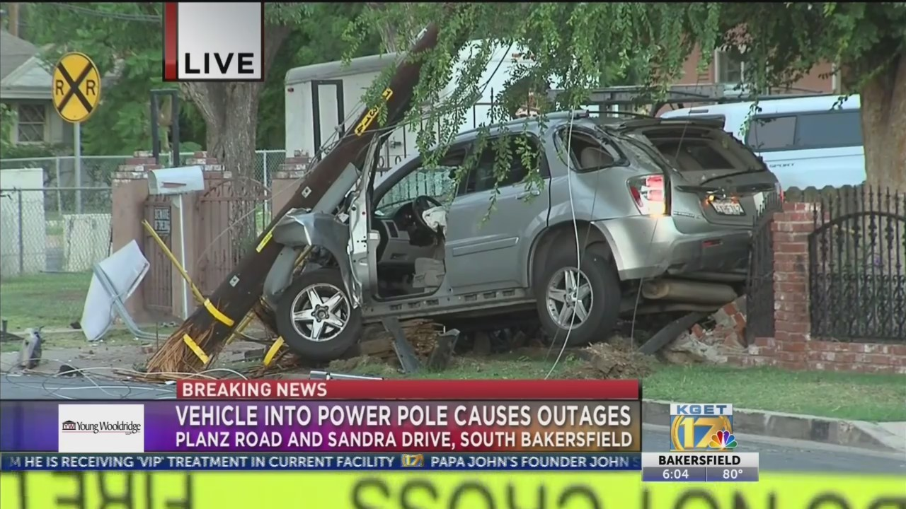 Car drives into pole in South Bakersfield neighborhood