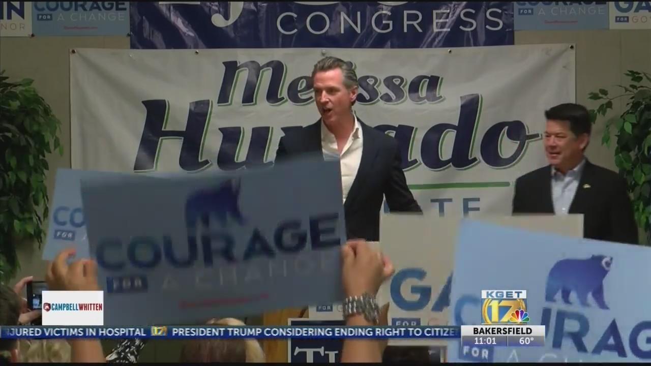 Gavin Newsom, CA Democratic gubernatorial candidate, campaigns in Bakersfield
