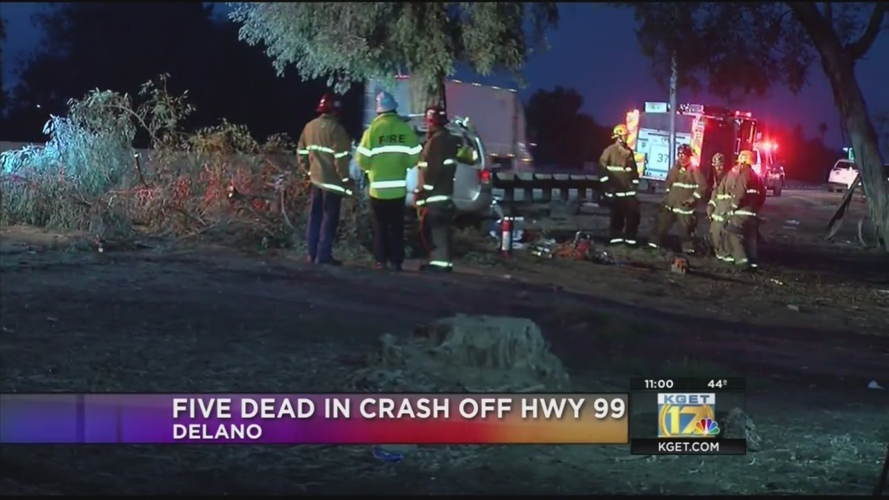 Five dead after solo vehicle collision on Hwy 99