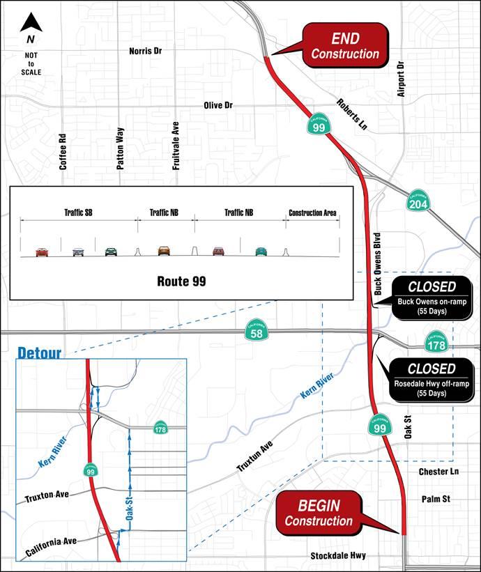 Caltrans: Highway 99 roadwork to close 24th Street, Buck