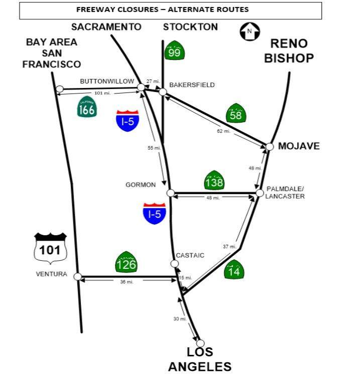 Chp Shares Map Of Alternate Routes If Grapevine Closed Due To Snow