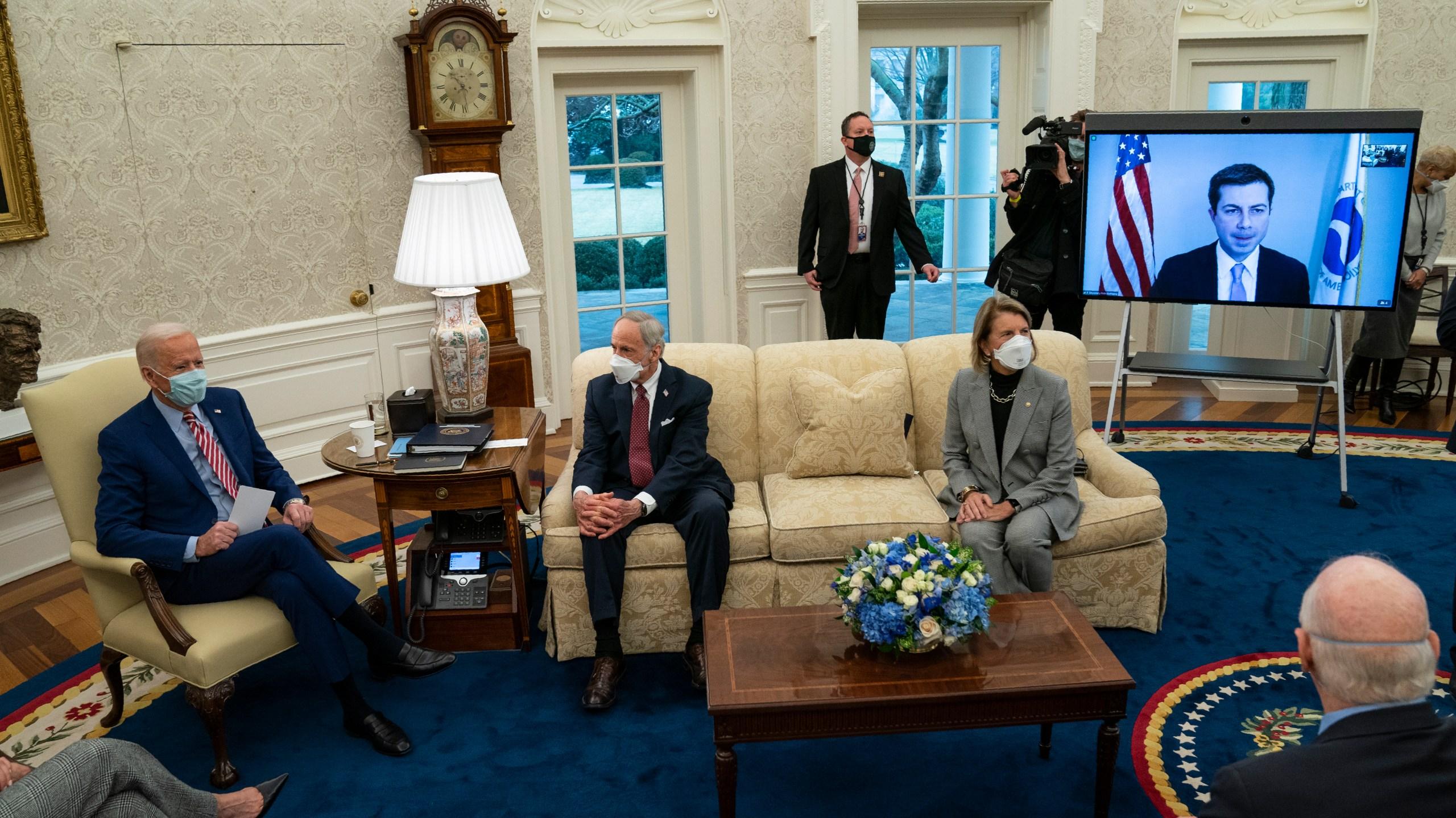 Joe Biden, Tom Carper, Shelley Moore Capito, Pete Buttigieg
